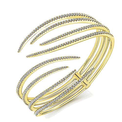 14k Yellow Gold Kaslique Bangle angle 2