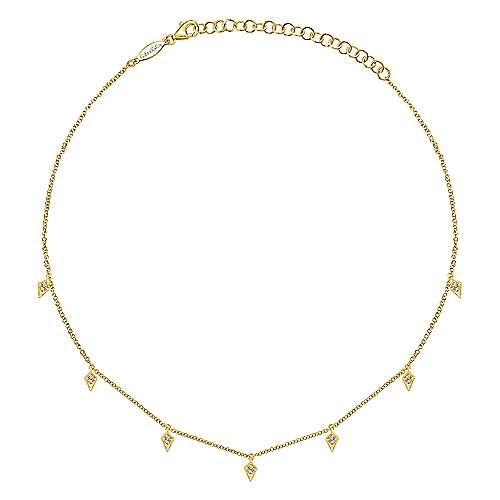 14k Yellow Gold Kaslique Choker Necklace angle 2