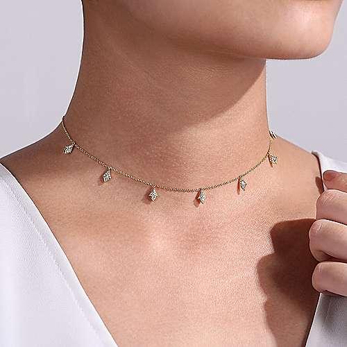14k Yellow Gold Kaslique Choker Necklace angle 3