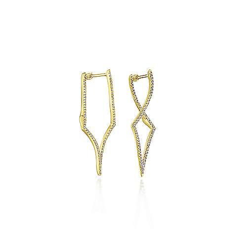 14k Yellow Gold Kaslique Classic Hoop Earrings angle 1