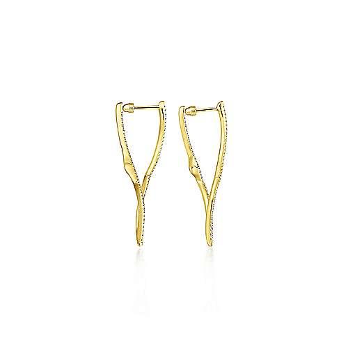 14k Yellow Gold Kaslique Classic Hoop Earrings angle 2