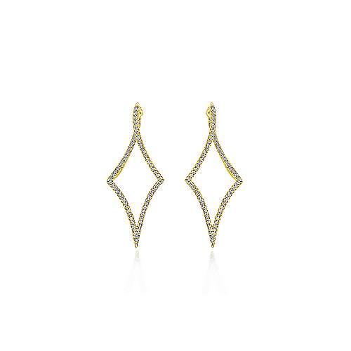 14k Yellow Gold Kaslique Classic Hoop Earrings angle 3