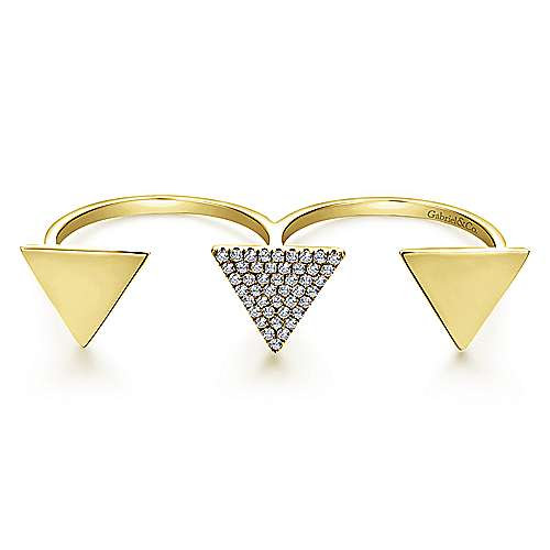 14k Yellow Gold Kaslique Double Ring Ladies' Ring angle 1
