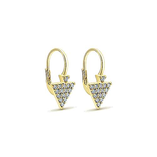 14k Yellow Gold Kaslique Drop Earrings angle 2