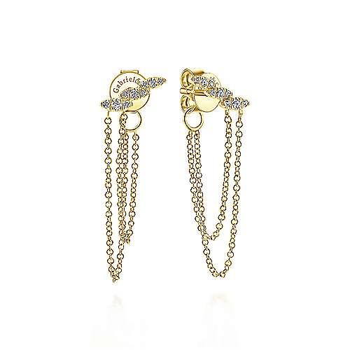 14k Yellow Gold Kaslique Drop Earrings angle 1