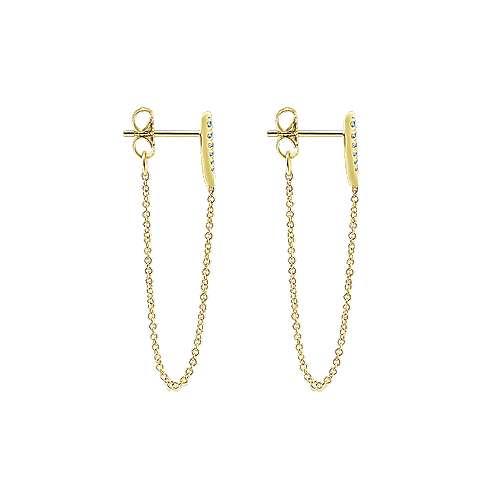 14k Yellow Gold Kaslique Drop Earrings angle 3