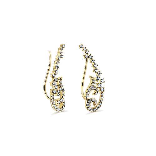 14k Yellow Gold Kaslique Ear Climber Earrings angle 2