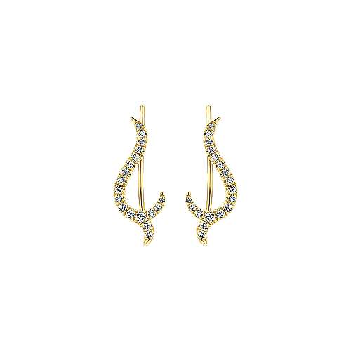 14k Yellow Gold Kaslique Ear Climber Earrings angle 1