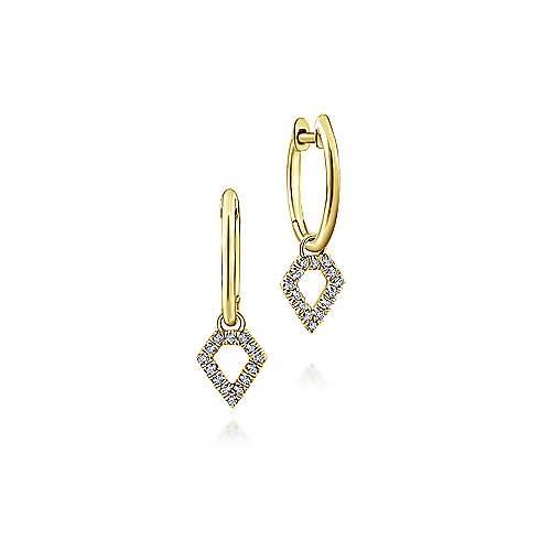 14k Yellow Gold Kaslique Huggie Drop Earrings