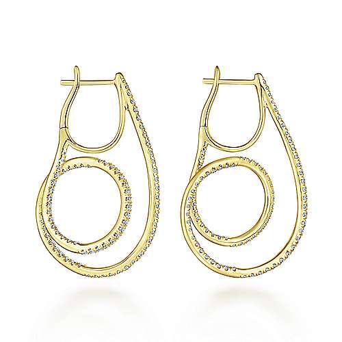 14k Yellow Gold Kaslique Intricate Hoop Earrings angle 2
