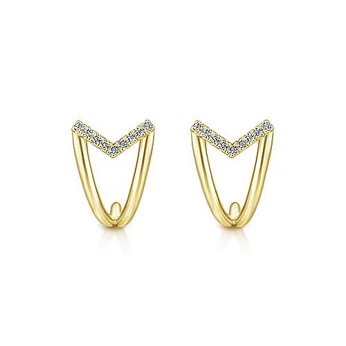 14k Yellow Gold Kaslique J Curve Earrings