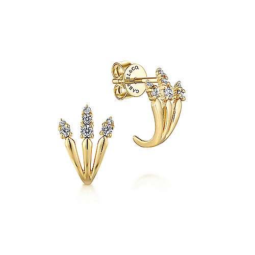 14k Yellow Gold Kaslique J Curve Earrings