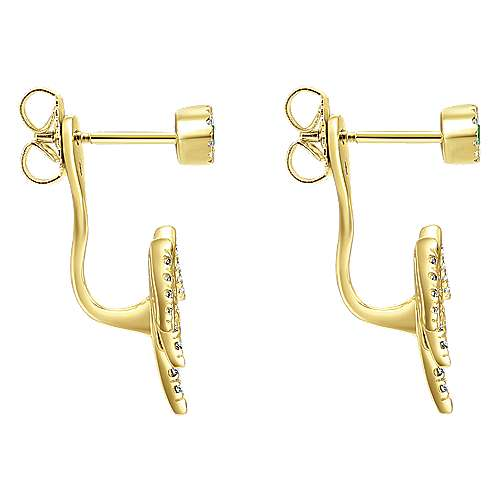 14k Yellow Gold Kaslique Peek A Boo Earrings angle 3