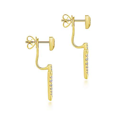 14k Yellow Gold Kaslique Peek A Boo Earrings angle 3