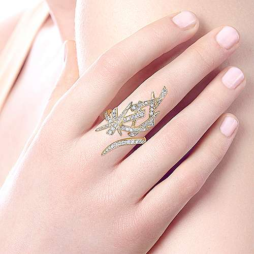 14k Yellow Gold Kaslique Statement Ladies' Ring angle 5