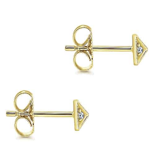 14k Yellow Gold Kaslique Stud Earrings angle 3