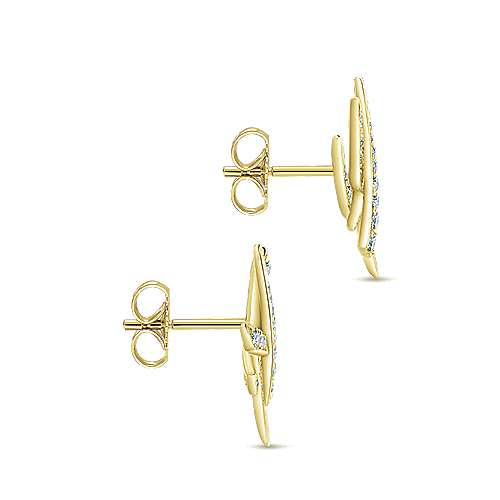 14k Yellow Gold Kaslique Stud Earrings angle 3