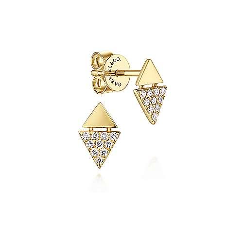 14k Yellow Gold Kaslique Stud Earrings angle 1