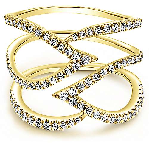 Gabriel - 14k Yellow Gold Kaslique Wide Band Ladies' Ring