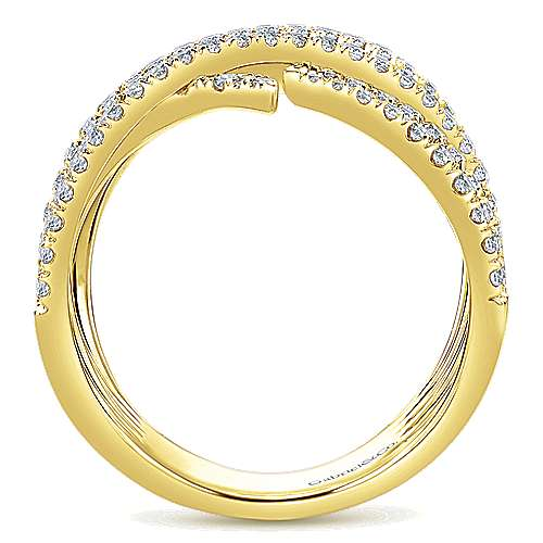 14k Yellow Gold Kaslique Wide Band Ladies' Ring angle 2