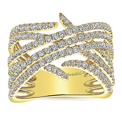 14k Yellow Gold Kaslique Wide Band Ladies