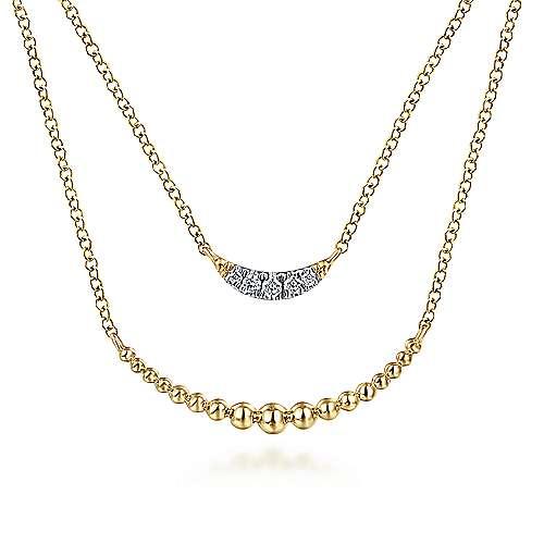 14k Yellow Gold Layered Diamond Crescent Fashion Necklace