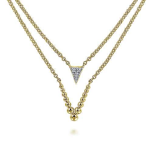 14k Yellow Gold Layered Diamond Triangle Fashion Necklace