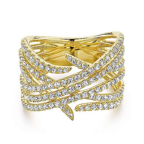 14k Yellow Gold Layered Diamond Wide Band Fashion Ring