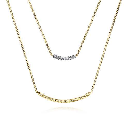 Gabriel - 14k Yellow Gold Layered Twisted Diamond Bar Necklace