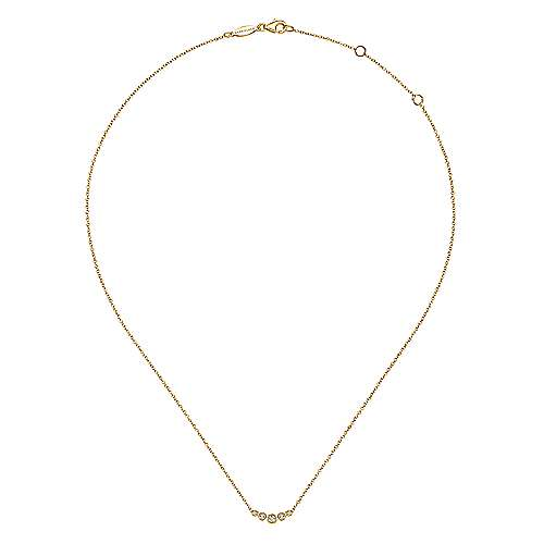14k Yellow Gold Lusso Bar Necklace angle 2