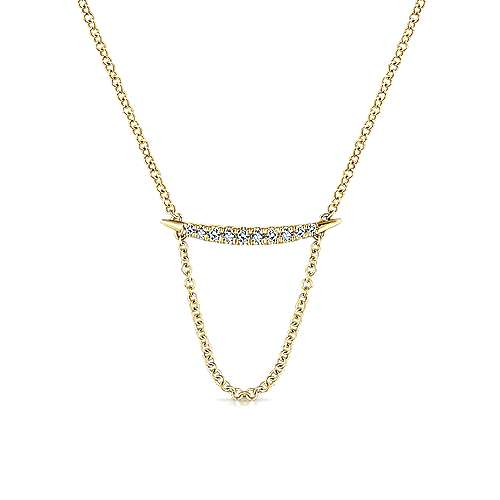 14k Yellow Gold Lusso Bar Necklace angle 1