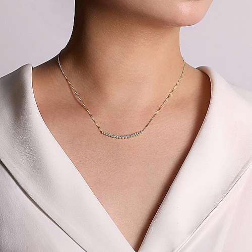 14k Yellow Gold Lusso Bar Necklace angle 3