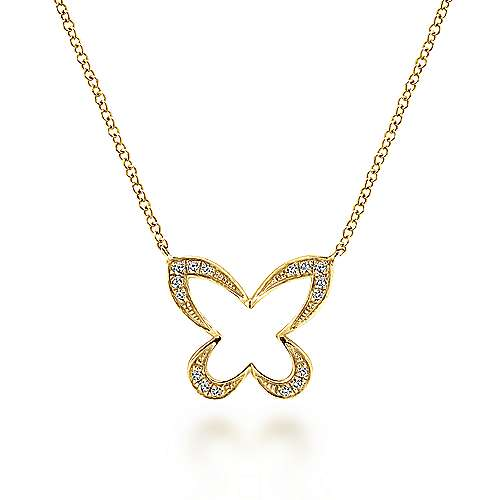 14k Yellow Gold Lusso Butterfly Necklace angle 1