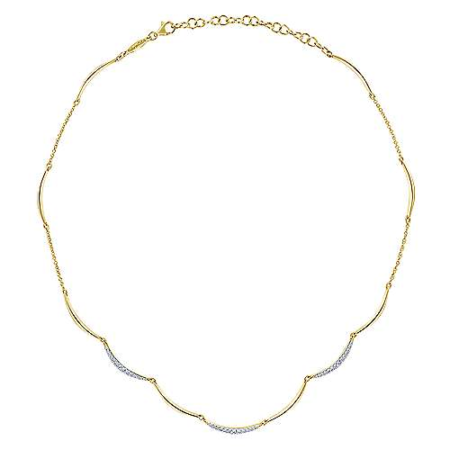 14k Yellow Gold Lusso Choker Necklace angle 2