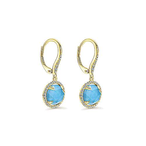 14k Yellow Gold Lusso Color Drop Earrings angle 2