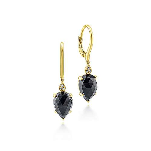 14k Yellow Gold Lusso Color Drop Earrings angle 1