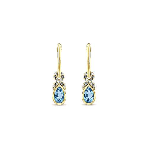 14k Yellow Gold Lusso Color Huggie Drop Earrings angle 1