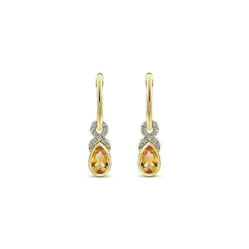 14k Yellow Gold Lusso Color Huggie Drop Earrings