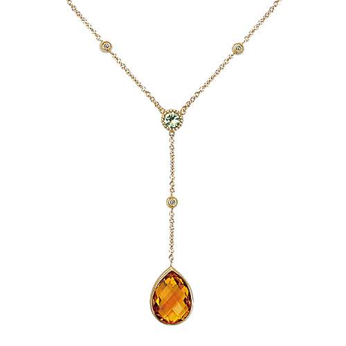 14k Yellow Gold Lusso Color Lariat Necklace angle 1