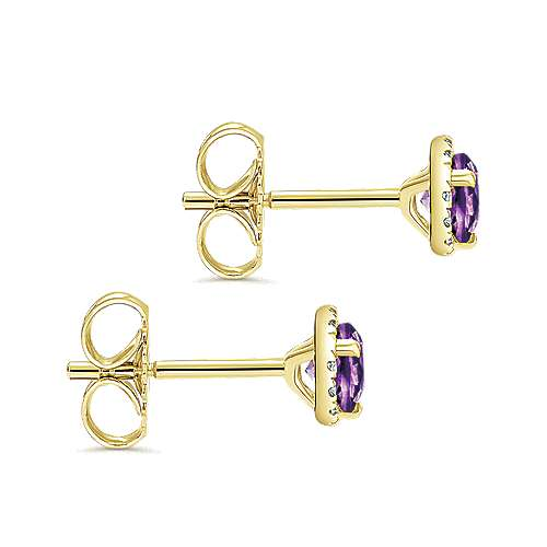 14k Yellow Gold Lusso Color Stud Earrings angle 3