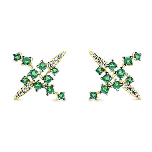 14k Yellow Gold Lusso Color Stud Earrings angle 1