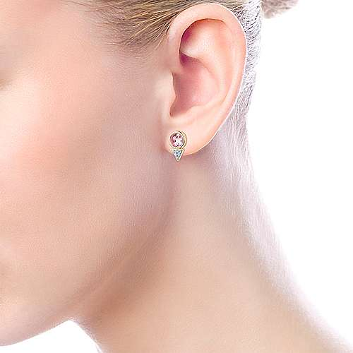 14k Yellow Gold Lusso Color Stud Earrings angle 4