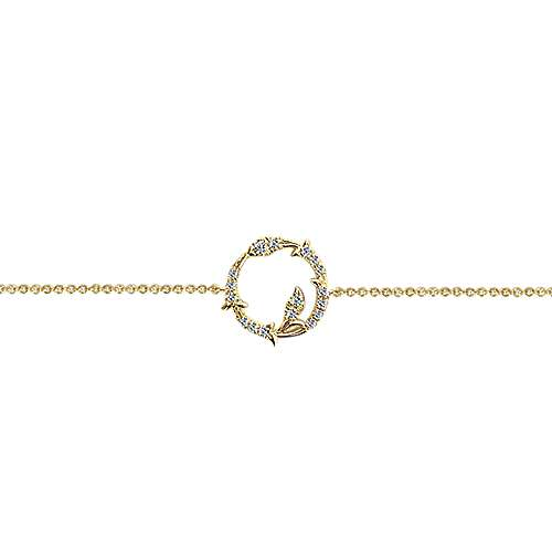 14k Yellow Gold Lusso Diamond Chain Bracelet angle 2