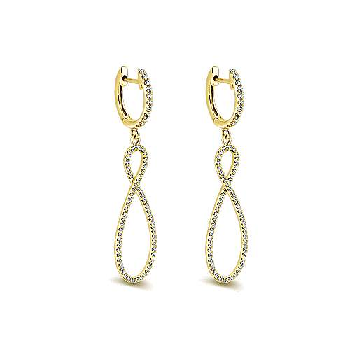 14k Yellow Gold Lusso Diamond Drop Earrings angle 2
