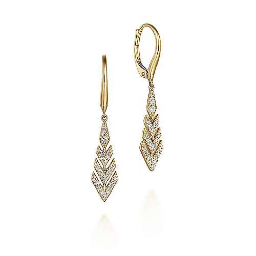 Gabriel - 14k Yellow Gold Lusso Diamond Drop Earrings