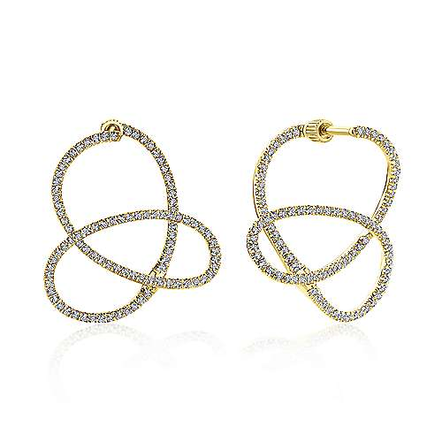 14k Yellow Gold Lusso Diamond Fashion Earrings angle 1