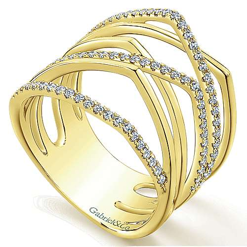 14k Yellow Gold Lusso Diamond Fashion Ladies' Ring angle 3