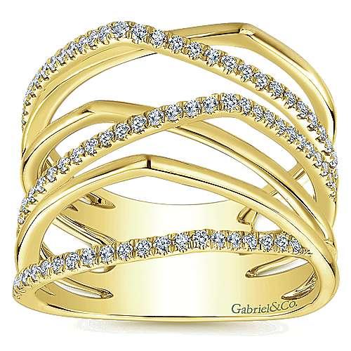 14k Yellow Gold Lusso Diamond Fashion Ladies' Ring angle 4