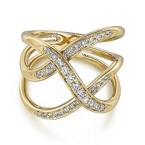 Gabriel - 14k Yellow Gold Lusso Diamond Fashion Ladies' Ring