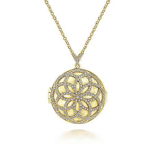 14k Yellow Gold Lusso Diamond Locket Necklace angle 1
